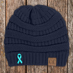 100% Donation - Ovarian Cancer Awareness Ribbon Beanie
