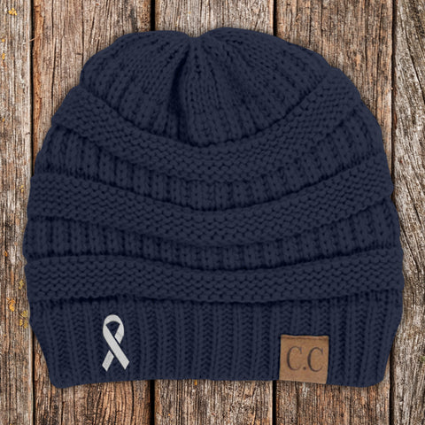 100% Donation - Lung Cancer Awareness Knit Beanie