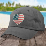 100% Donation - Military Heart American Flag Hat