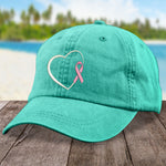 Breast Cancer Heart Ribbon Hat