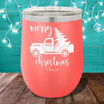 Merry Christmas Truck 12oz Stemless Wine Cup
