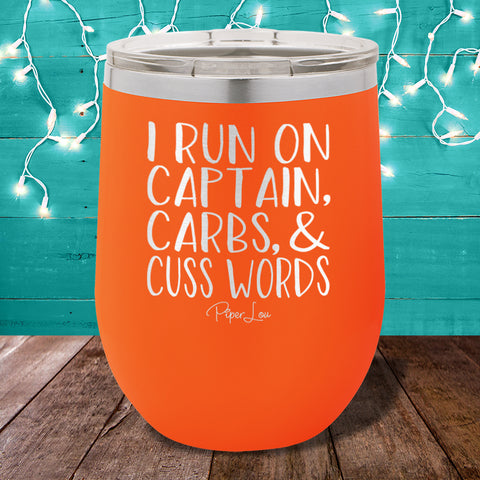 I Run On Captain Carbs Cuss Words 12oz Stemless Wine Cup