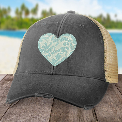 100% Donation - Beach Beach Shark Heart Hat