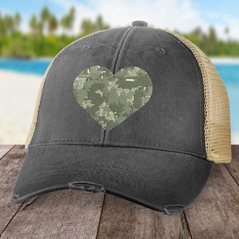 100% Donation - Military Camo Heart Hat