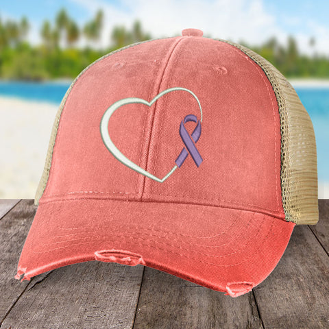 Alzheimer's Awareness Heart Ribbon Hat
