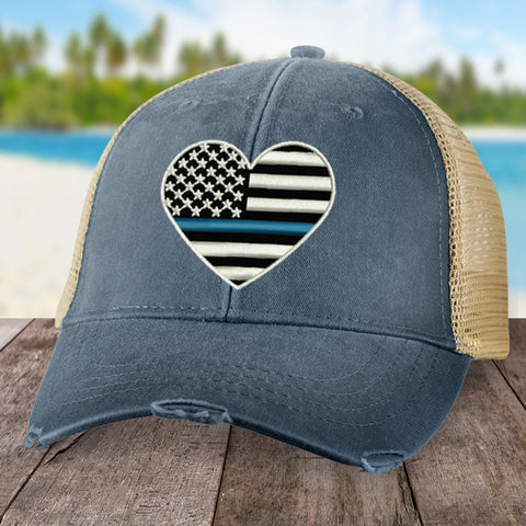 Blue Line Flag Heart Hat