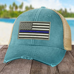 Law Enforcement Blue Line Flag Hat