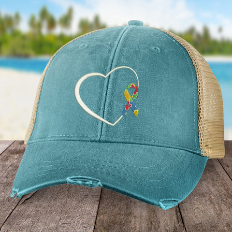 Autism Puzzle Ribbon Heart Hat