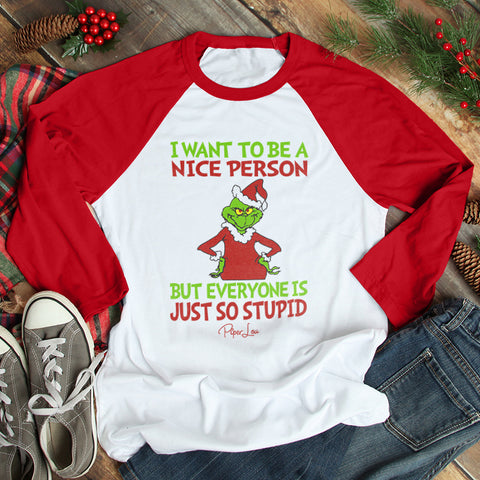 I Want To Be A Nice Person Christmas Raglan (Unisex)