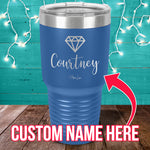 Custom Name Diamond Laser Etched Tumbler
