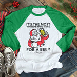 Most Wonderful Time For A Beer Christmas Raglan (Unisex)