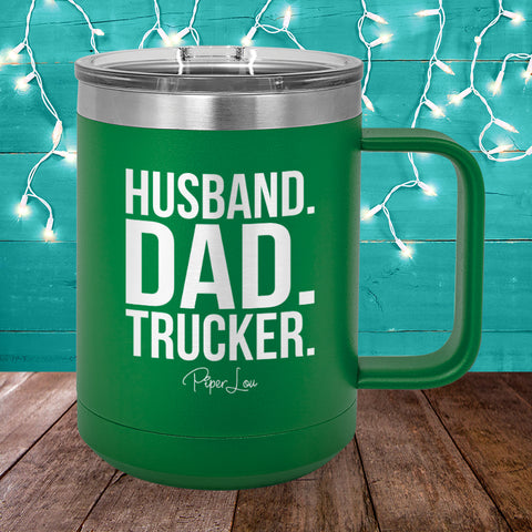 Husband Dad Trucker 15oz Coffee Mug Tumbler