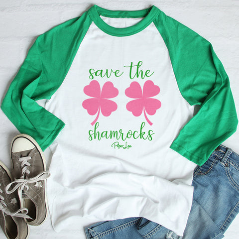 100% Donation - Breast Cancer - Save The Shamrocks St Patricks Day Raglan