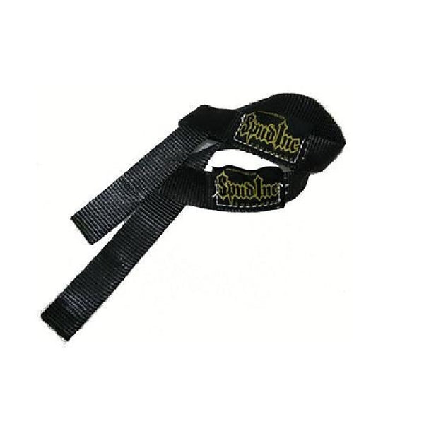 "Black 1"" wide spud inc weight lifting straps."