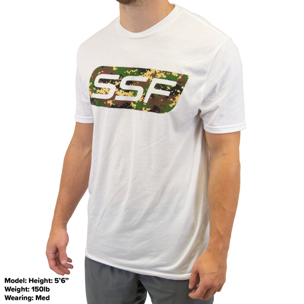 Serious Steel Fitness Camo on White Shirt