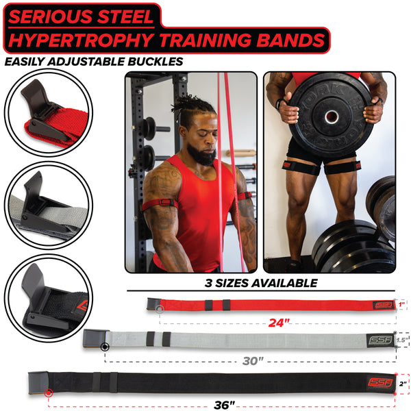 Serious Steel Fitness Arm and Leg Hypertrophy Training Bands (Pair)