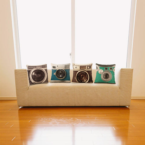 "3D Camera Throw Pillow Cover (16"" x 16"")"