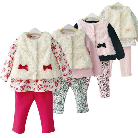 Baby Girls 3pcs  vest shirts and pants outfit
