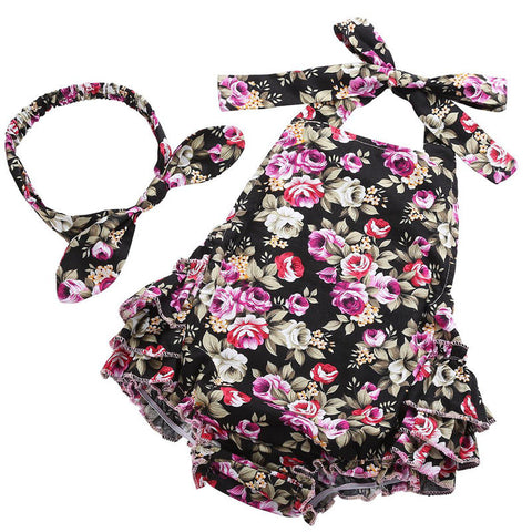 Floral Baby Girl Romper & Headband