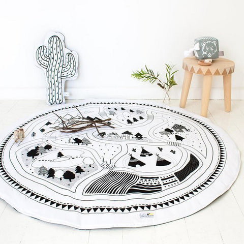 Round Racing Games Carpet Play Rug Kids Room Decoration