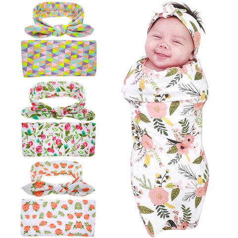 Newborn Swaddle Blanket and Headband Set