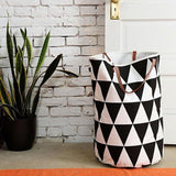 Canvas Laundry Basket Storage Bag With Leather Handles