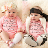 "Baby Rompers for Girls Long Sleeve ""Not Allowed To Date Ever"""
