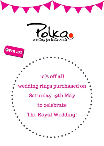 We're celebrating The Royal Wedding! Save 10% off all wedding rings on 19th May
