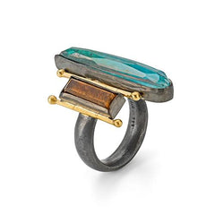 Boho chrysocolla, tigers eye & quartz ring