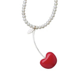 cool red cherry necklace with pearls