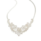 Bridal silver lace vintage necklace