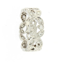 18ct White Gold Floral Band with Diamonds