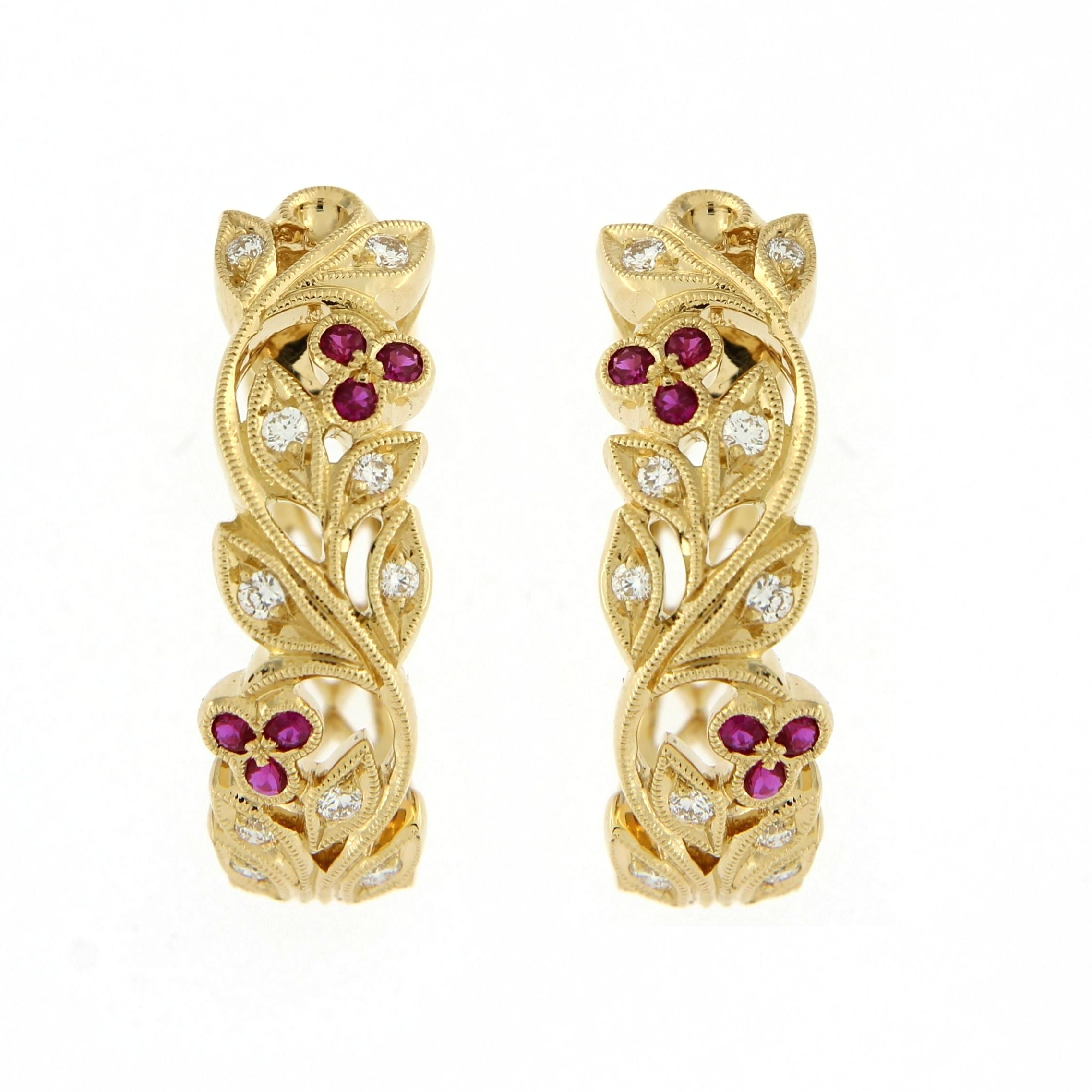 Gold and Ruby Hoop earrings