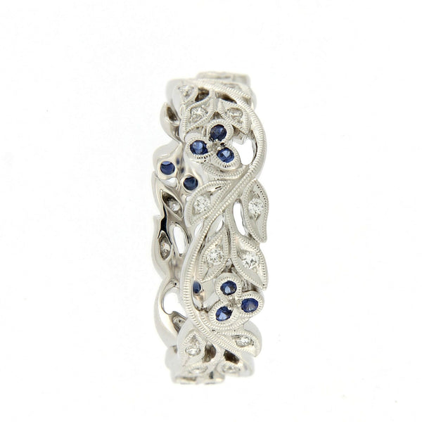 18ct White Gold Floral Band with Diamonds & Sapphires