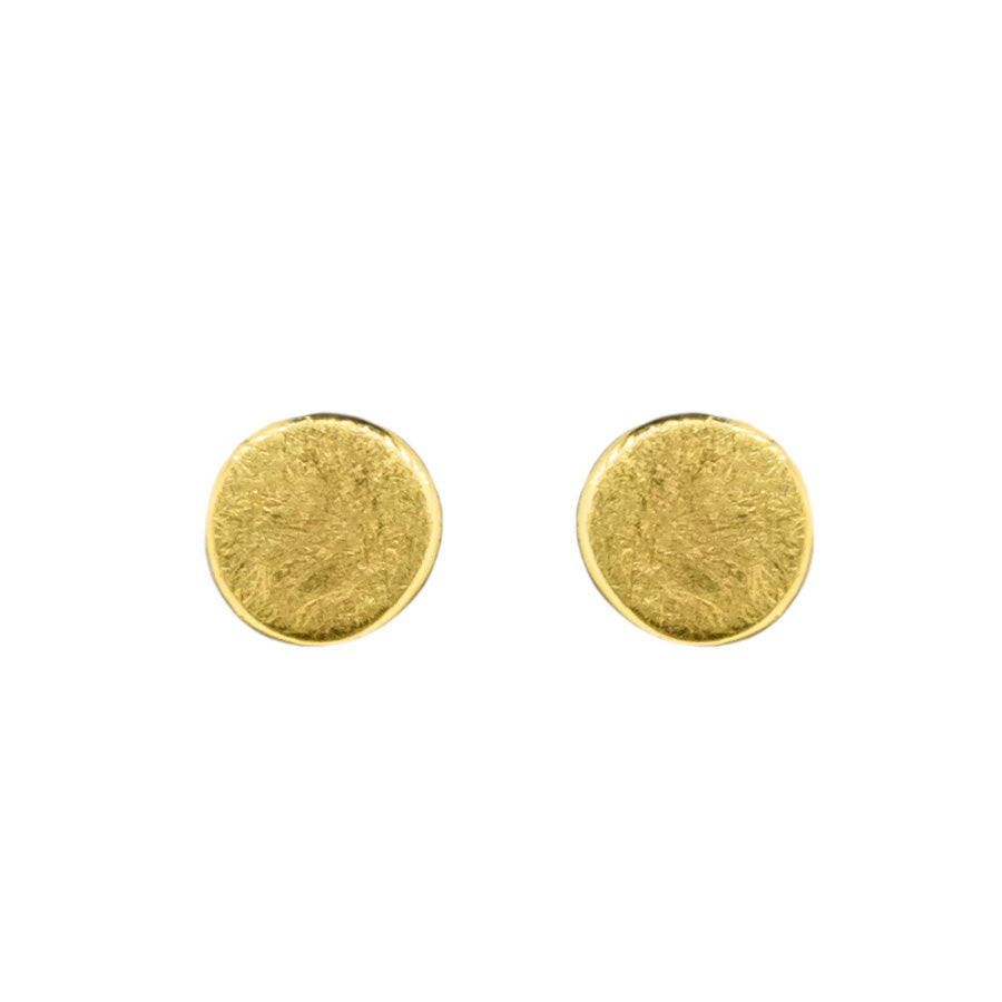 Yellow Gold Disc Earrings