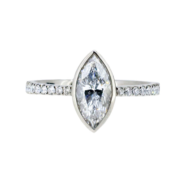 Platinum and Marquise Diamond Ring