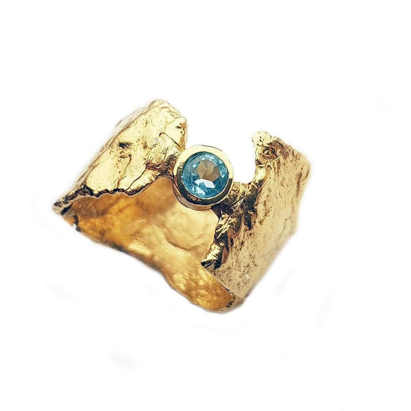 Gold Faerie Tale Ring with Blue Topaz