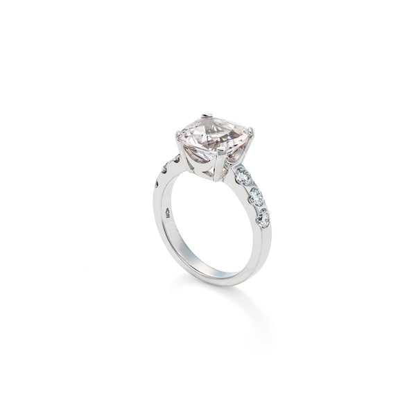 White Gold Morganite and Diamond Ring