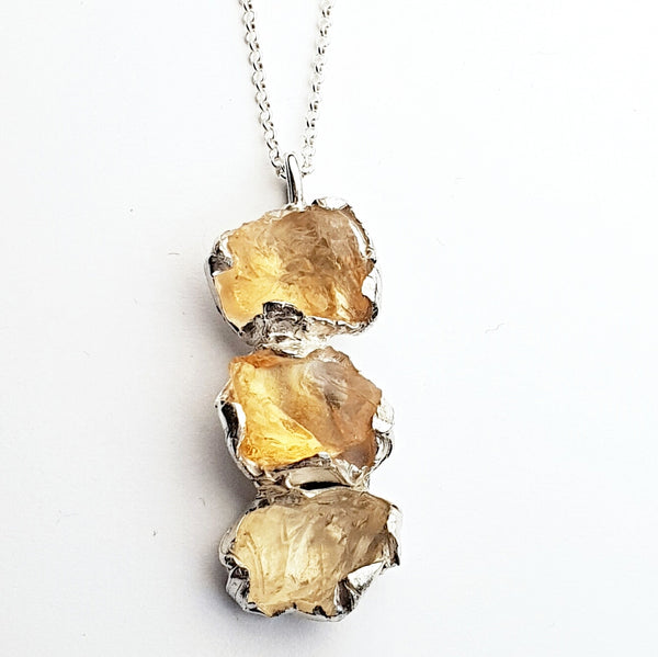 Citrine Triple Solar Fire Pendant