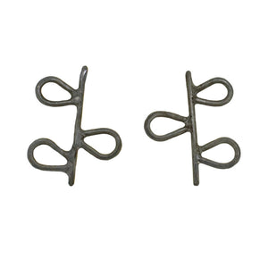 Oxidised Silver Leafy Stud Earrings