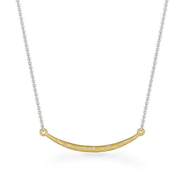 Hammered Bar Necklace with Diamonds