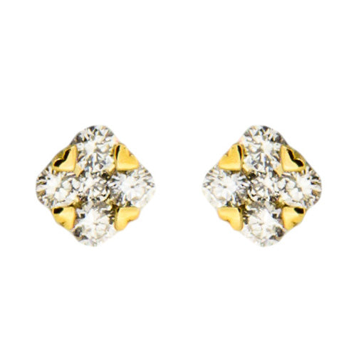 Gold and Diamond Stud Earrings
