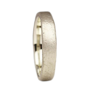 9ct White Gold Sand Cast Wedding Band