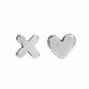 Silver Hearts & Kisses Earrings