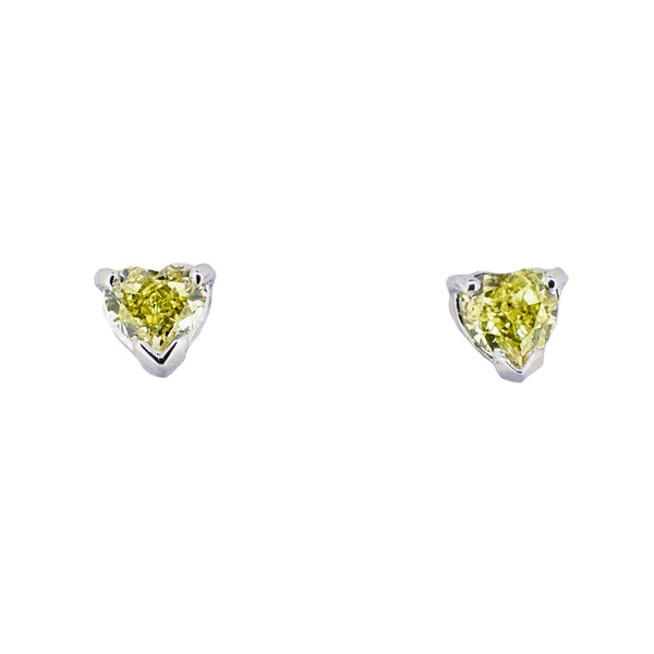 18ct White Gold with Yellow Diamond Earrings