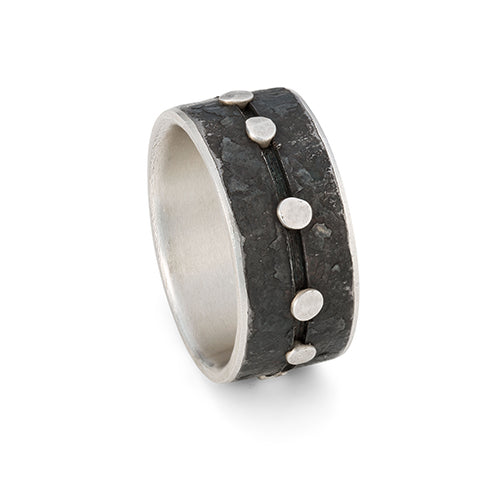 Steel and silver ring with rivets