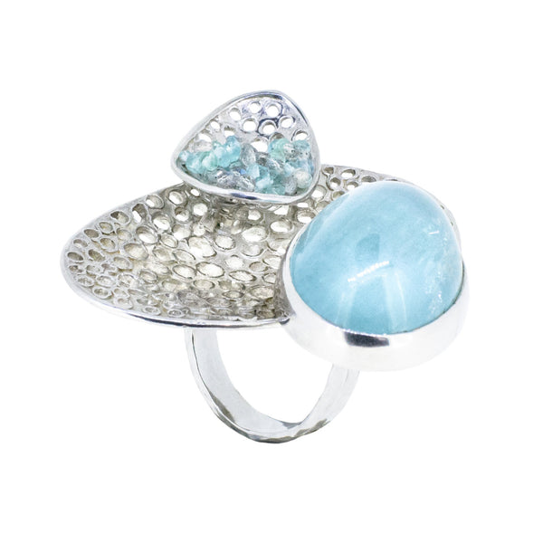 Silver and Aquamarine Ring