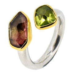 Peridot and Red Tourmaline Ring