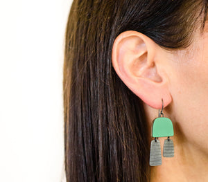 Green Two Part Earrings