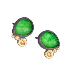 Doublet jade quartz with rose cut diamond Earrings